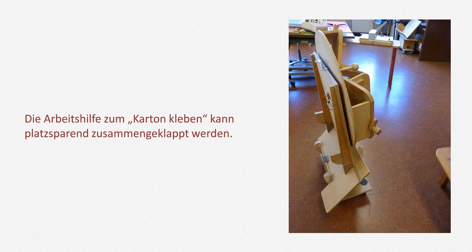 Kartons verkleben Karl-Schubert-Werkstätten – Filderstadt Papierwerkstatt Entwickler: Hans Martin Nüssle