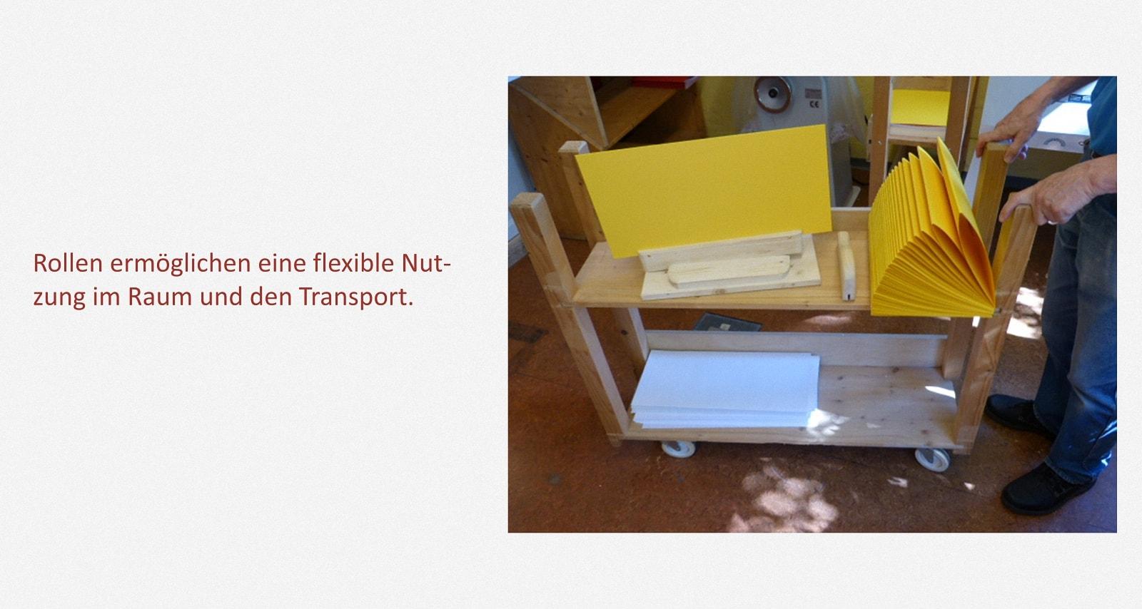 Ablage- und Transportwagen Karl-Schubert-Werkstätten – Filderstadt Papierwerkstatt Entwickler: Hans Martin Nüssle Fotos: Hein Kistner