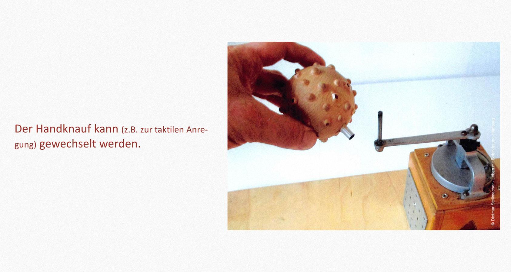 Lebensmittel bearbeiten Leben mit Behinderung Hamburg (LmbH) Arbeit unterstützende Geräte Entwickler: Dietmar Stellmacher